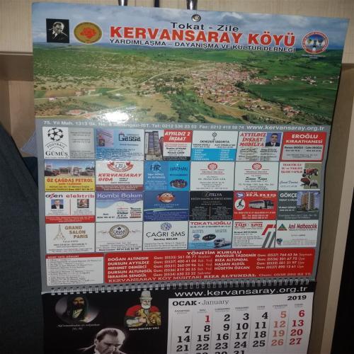 Zile Kervansaray Köyü Derneği 2019 Yılı Takvimi