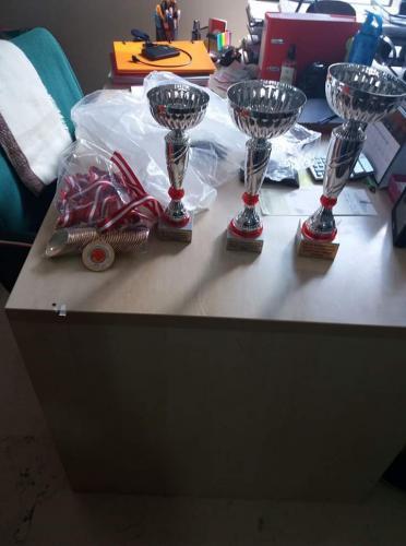 Zile Kervansaray Köyü Derneği'nin 2018 Yılında Düzenlediği Futbol Turnuvası Sonucu Birinci İkinci ve Üçüncü Olan Takımlara Verilen Kupa ve Madalyalar